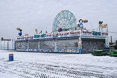 Snowy Coney Island Stock Photos