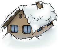 Snowy Cottage Stock Photography