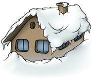 Snowy Cottage. Cartoon Illustration, Vector royalty free illustration