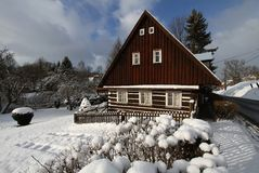 Snowy cottage Royalty Free Stock Photography