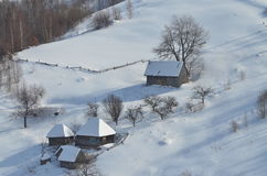 Snowy country houses Royalty Free Stock Photo