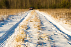 Snowy country lane. Near forest Royalty Free Stock Image