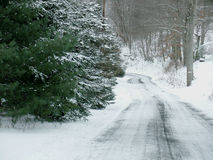 Snowy Country Road Royalty Free Stock Photos