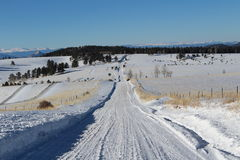 Snowy Country Road Royalty Free Stock Images