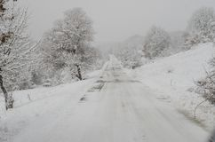 Snowy country road Stock Photos