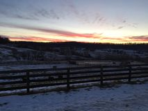 Snowy Country Sunrise Royalty Free Stock Photography