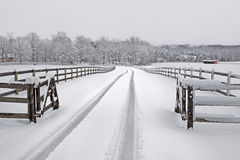 Snowy countryside driveway Stock Images