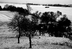 Snowy countryside landscape Royalty Free Stock Image
