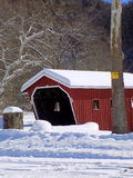Snowy Covered Bridge. Entrance at Kent State Park in Connecticut Royalty Free Stock Images