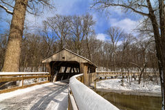 Snowy Covered Bridge Trail Royalty Free Stock Photo