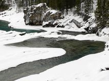 Snowy Creek. Kicking Horse River in winter, Yoho National Park, British Columbia, Canada Royalty Free Stock Images