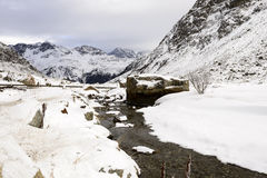 Snowy creek at Julier pass , Switzerland Royalty Free Stock Photos