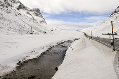 Snowy creek near Julier pass , Switzerland Royalty Free Stock Images