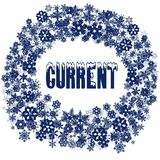 Snowy CURRENT text in snowflake frame. Illustration concept Stock Image