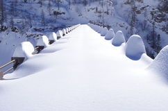 Snowy dam Stock Photography