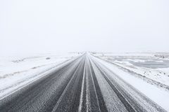 Snowy dangerous road Royalty Free Stock Images
