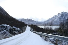 Snowy dangerous road in winter conditions. In Norway Royalty Free Stock Photos