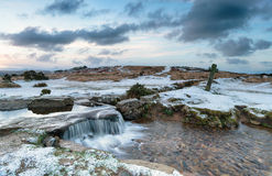 Snowy Dartmoor. Snowy winter dawn at Windy Post on Dartmoor national Park in Devon Royalty Free Stock Photo