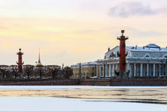 Snowy dawn in Saint Petersburg. Spit of Vasilievsky Island in wi Royalty Free Stock Photos