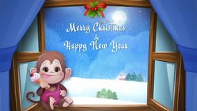 Snowy day at Christmas and New Year. Christmas monkey stock video footage