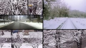 Snowy day collage stock video footage