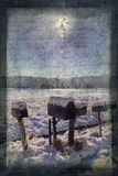 Snowy Day Mailboxes with Antique Postcard Script Royalty Free Stock Photos