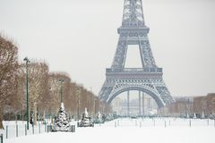 Snowy day in Paris, France stock image