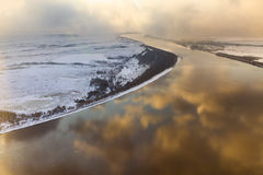 Snowy day on the river, top view Stock Image