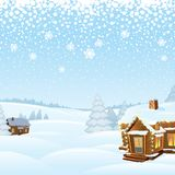 Snowy Day Winter Landscape. Vector Illustration Royalty Free Stock Images