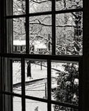 Snowy day seen from a second story window Royalty Free Stock Image