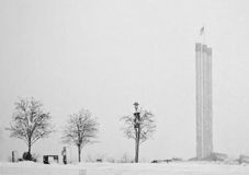 Snowy Day At The Stacks. Snow falls heavily around the stacks at the Old Mill District in Bend, Oregon stock images