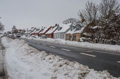 A snowy day in the town Royalty Free Stock Images