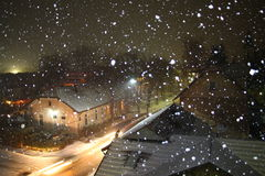 Snowy december night in Bosnia and Herzegovina. Winter background Royalty Free Stock Photos