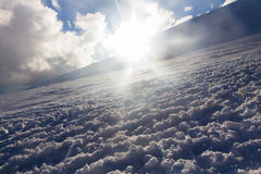 Snowy and deserted slopes of Mount Elbrus Royalty Free Stock Photography