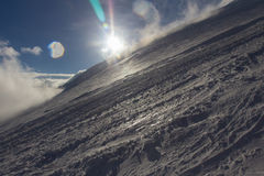 Snowy and deserted slopes of Mount Elbrus Royalty Free Stock Image