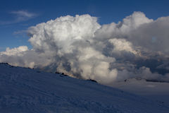 Snowy and deserted slopes of Mount Elbrus Stock Images