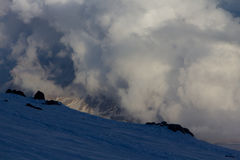 Snowy and deserted slopes of Mount Elbrus Royalty Free Stock Photos