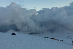 Snowy and deserted slopes of Mount Elbrus Stock Image