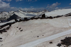 Snowy and deserted slopes of Mount Elbrus Stock Photos