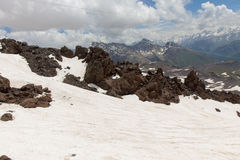 Snowy and deserted slopes of Mount Elbrus Royalty Free Stock Images