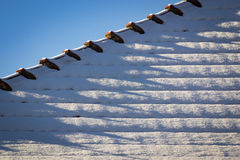 Snowy detail tiled roof Royalty Free Stock Photos