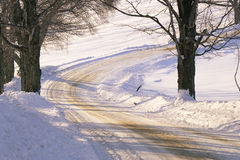 Snowy dirt road Stock Photo