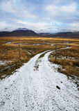 Snowy Dirt Road Leading to Open Field Stock Images