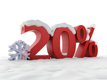 Snowy discount. Winter Sale concept. Image of red 20% snowy discount. Winter Sale concept Stock Image
