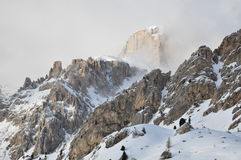 Snowy Dolomites Alps, clouds, winter, Italy, Europe. Snowy Dolomites Alps in clouds, winter, Italy, Europe Stock Image
