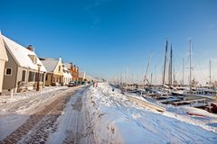 Snowy Durgerdam in winter in the Netherlands Stock Image