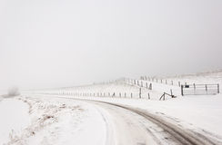 A snowy Dutch landscape with a curved road Royalty Free Stock Photo