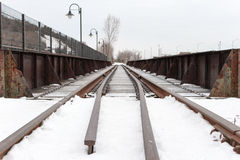 Snowy-Eisenbahn Lizenzfreie Stockfotos