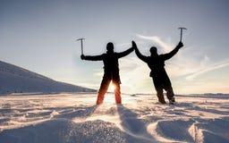 Snowy, eisige Berge und erfolgreiche Bergsteiger stockbild