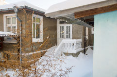 Snowy entrance in a private house in Pomorie, Bulgaria Winter Stock Photo